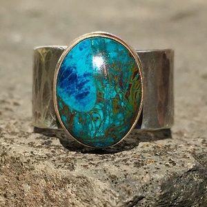 NWOT Artisan shattuckite silver and gold ring